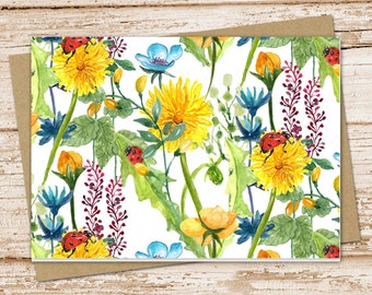 Yellow Notecards Blank Notecards Set of 6 Handmade Notecards Floral Notecards