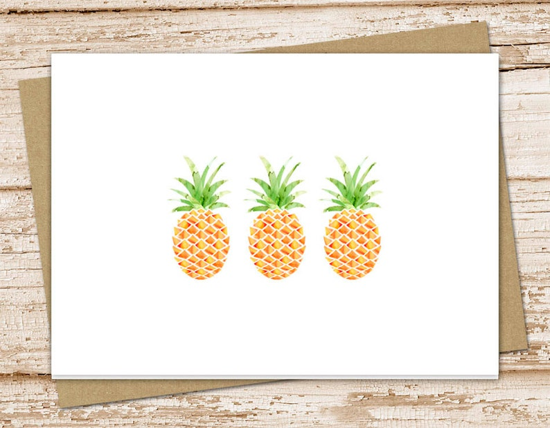 stationery set . pineapple cards . greeting cards notes . image 0
