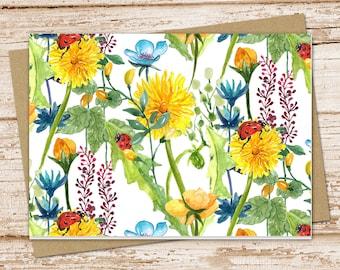 flowers & ladybugs note card set . floral notecards .  blank cards . folded stationery . stationary . set of 6