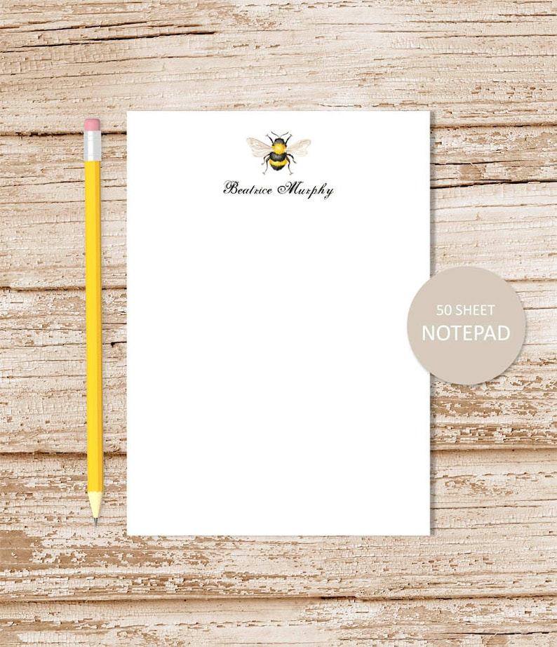 personalized notepad . HONEY BEE notepad . watercolor bee note image 0