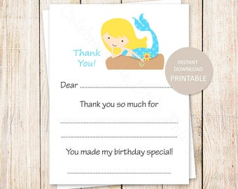PRINTABLE mermaid thank you cards . fill in the blank . birthday thank you . under the sea . blonde mermaid . INSTANT DOWNLOAD