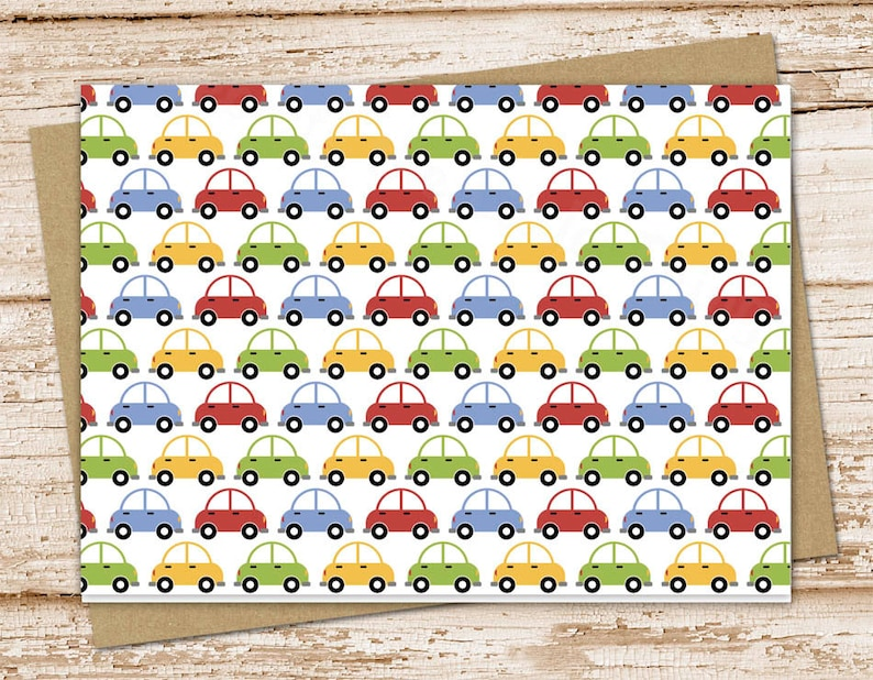 car note card set . transportation notecards . boys thank you image 0