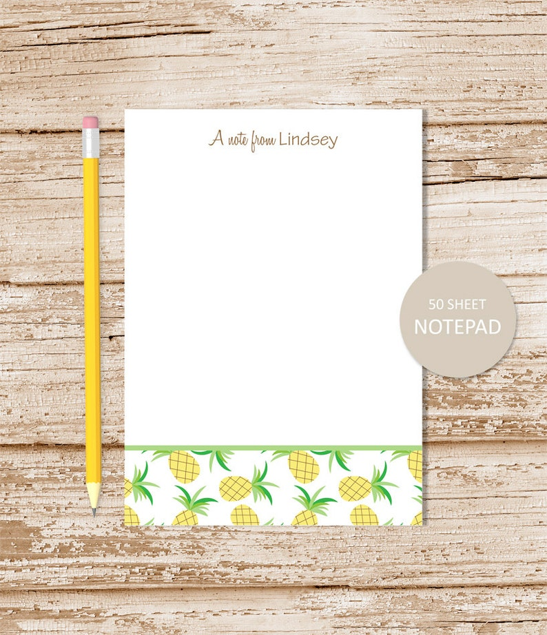 personalized notepad . PINEAPPLE BORDER . note pad . tropical image 0