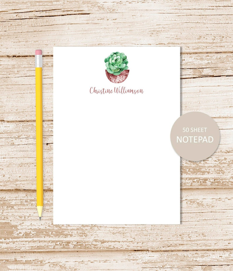personalized notepad note pad . SUCCULENT notepad . image 0