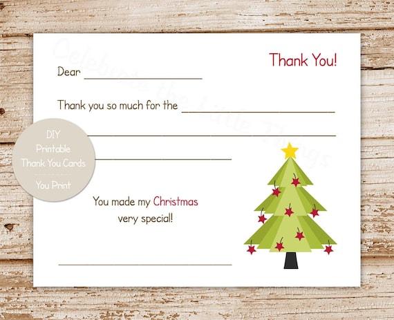 Printable Christmas Thank You Cards For Kids Christmas Tree Etsy