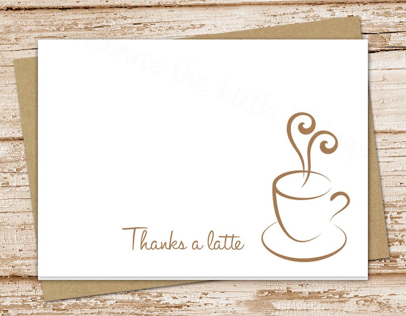 coffee thank you cards . thanks a latte . folded stationery image 0