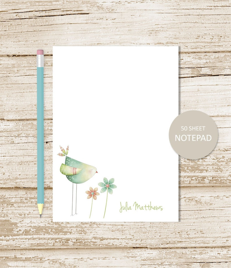 personalized notepad . WATERCOLOR BIRD . flowers note pad . image 0
