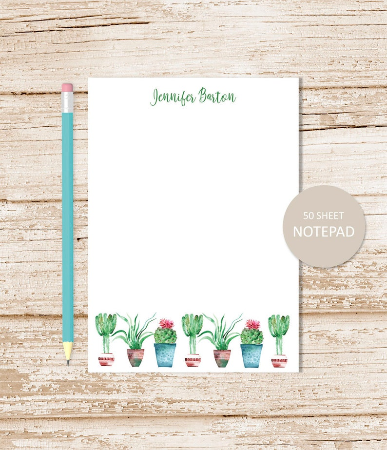 personalized notepad . CACTUS BORDER .  watercolor cacti note image 0