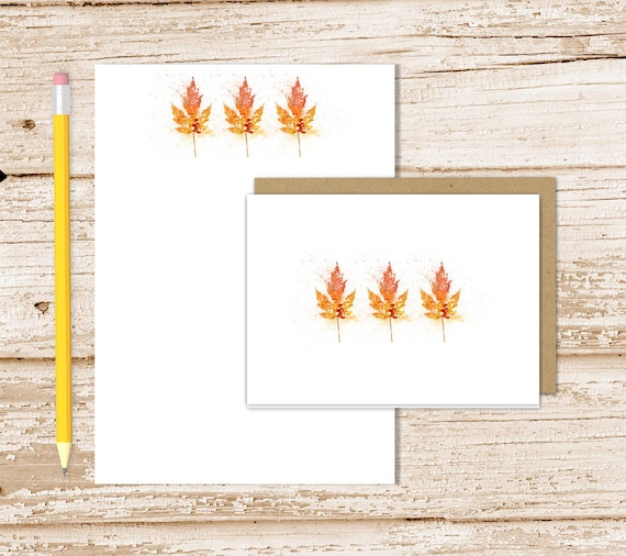 personalized stationery set autumn leaves notepad note card set
