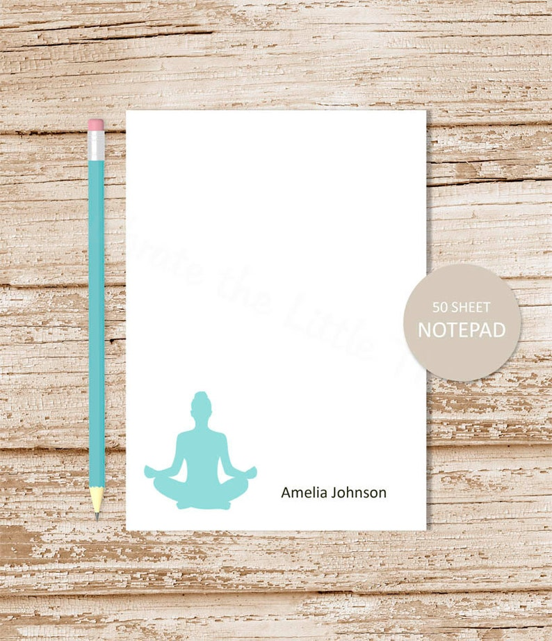 personalized notepad . YOGA . note pad . personalized image 0