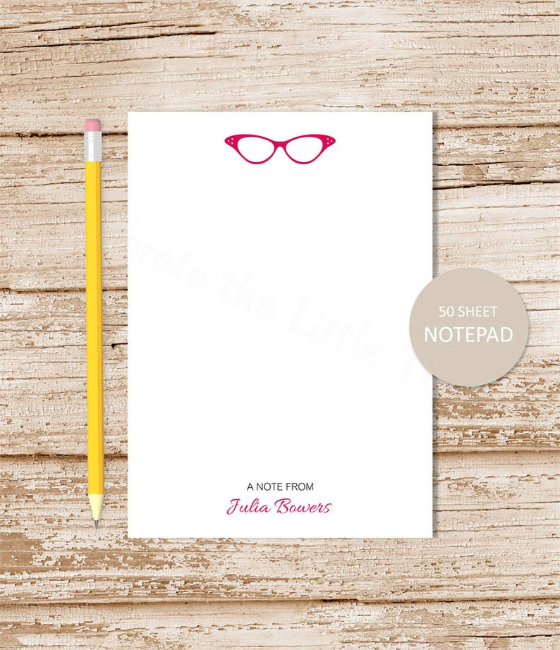 personalized notepad . GLASSES notepad . eyeglasses note pad . image 0