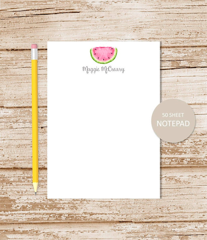 personalized notepad . WATERMELON notepad . watercolor image 0