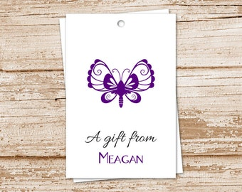 PRINTABLE butterfly gift tags . butterfly tags . personalized . birthday gift tags . YOU PRINT