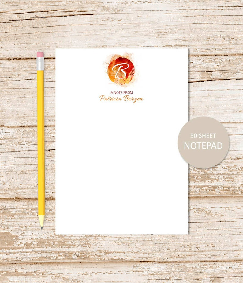 personalized notepad . AUTUMN INITIAL . note pad . autumn leaf image 0
