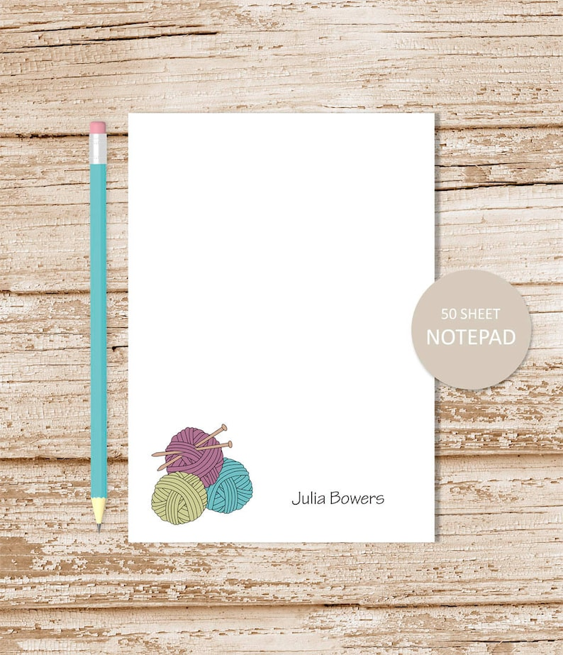 personalized notepad . KNITTING notepad . knitting note pad . image 0