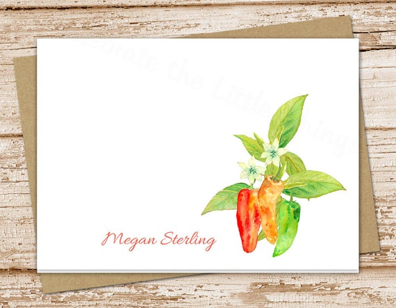 personalized gardener stationery, note cards . chili pepper notecards . folded stationary. watercolor peppers cook chef gift . set of 10