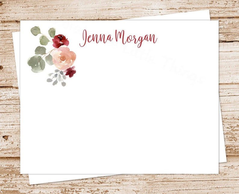 floral note cards . bohemian flowers . personalized stationery image 0