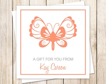butterfly tags . gift tags . stickers . butterfly favor tags . PRINTABLE personalized insect silhouette tags . choose color . YOU PRINT