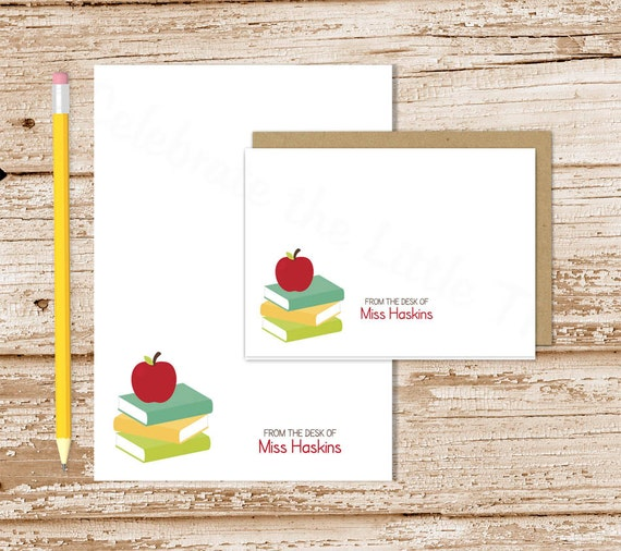 Executive College Stationery Note Cards: Apple Books Personalized Stationery Set . Teach Notepad