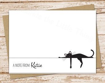 personalized black cat note cards . cat stationery . stationary . folded cards . cat notecards . siamese cat . set of 10