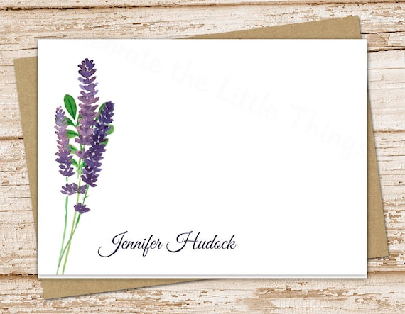 personalized stationery . lavender note cards . lavender stationery . floral, botanical notecards . folded stationary . set of 10