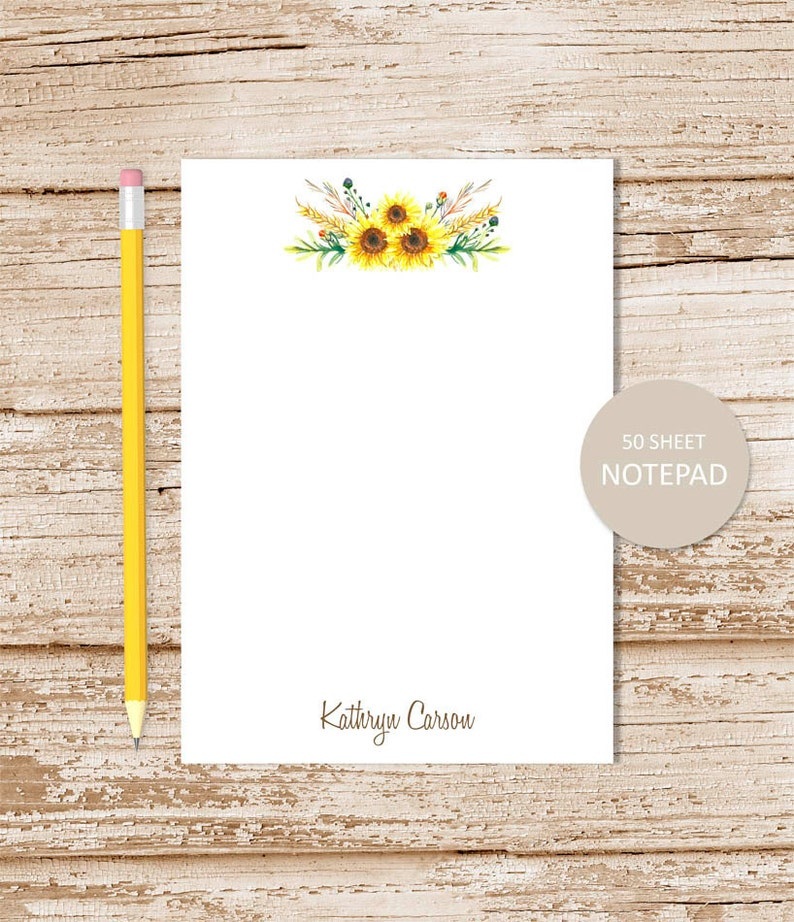 personalized notepad . SUNFLOWER SWAG note pad . watercolor image 0