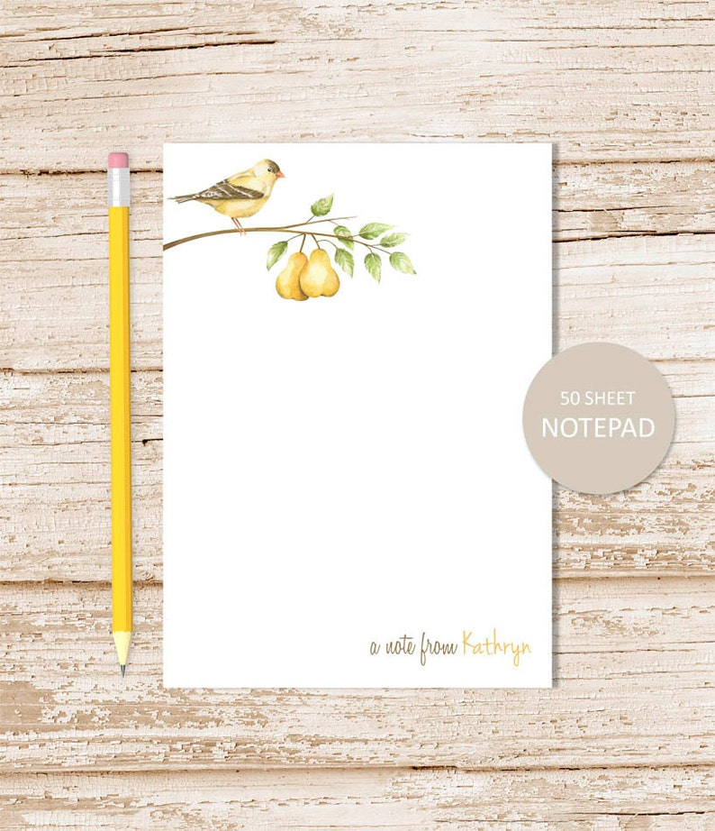 personalized notepad . PEAR . note pad . watercolor pears image 0