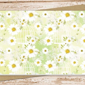 Printed Daisy Cards Yellow Brown Beige Daisy Thank You Cards Daisy Note Cards Burlap Lace Rustic Country Wood Floral
