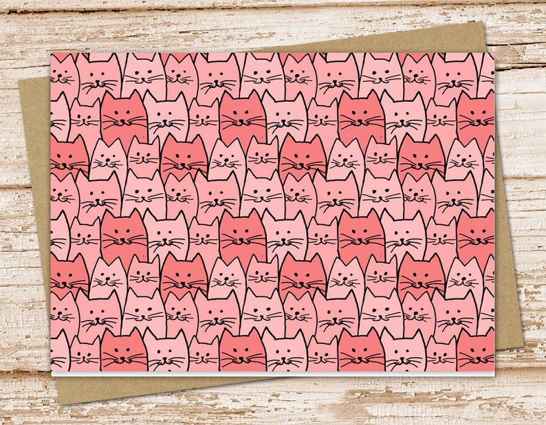 cats note card set .  pink cats notecards . cat feline pet image 0