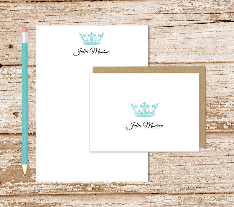 crown personalized stationery set . royal crown notepad  note image 0