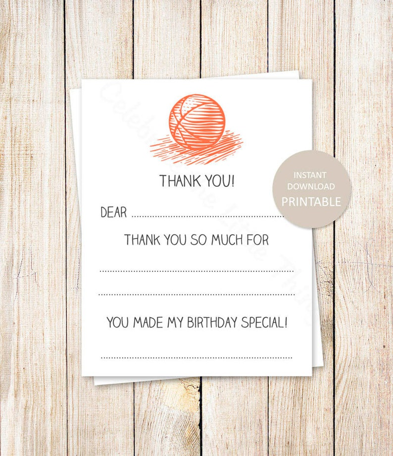 picture relating to Fill in the Blank Thank You Cards Printable known as PRINTABLE basketball thank your self playing cards . fill inside the blank thank on your own . basketball birthday . athletics . Immediate Down load