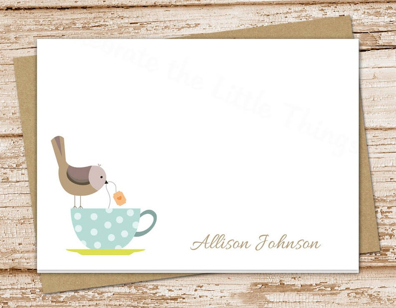 personalized tea cup notecards . note card . tea cup birds . image 0