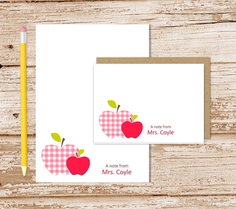 personalized APPLE stationery set . teacher notepad  note image 0