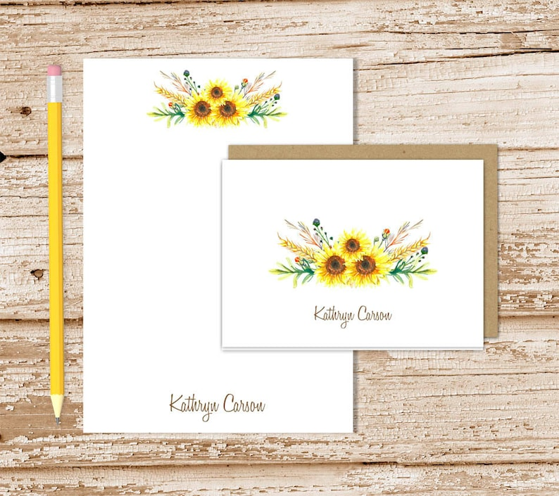 personalized stationery set . watercolor sunflowers . notepad image 0