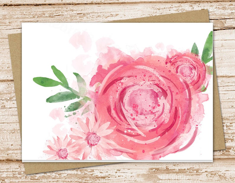 pink rose stationery set . watercolor flowers. pink daisy image 0