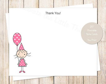 PRINTABLE birthday girl thank you cards . pink stick girl . birthday balloon . note cards . stationery | INSTANT DOWNLOAD