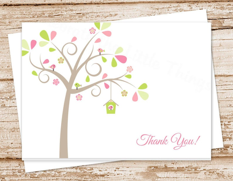 baby thank you cards . bird birdhouse tree . note cards . image 0