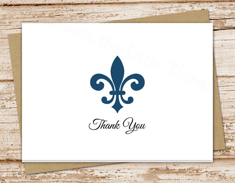 image relating to Fleur De Lis Printable called PRINTABLE fleur de lis thank yourself playing cards . folded observe playing cards . fleur de lis notecards . stationery