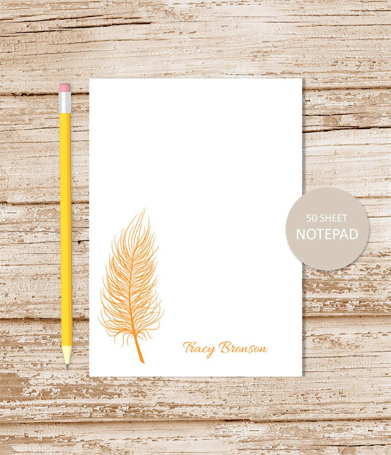 personalized notepad . FEATHER . feather silhouette note pad . image 0