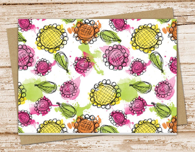 floral note card set .  watercolor notecards . pink yellow image 0