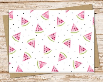 watermelon note card set . summer fruit slices notecards . blank note cards . folded stationery . stationary . set of 6