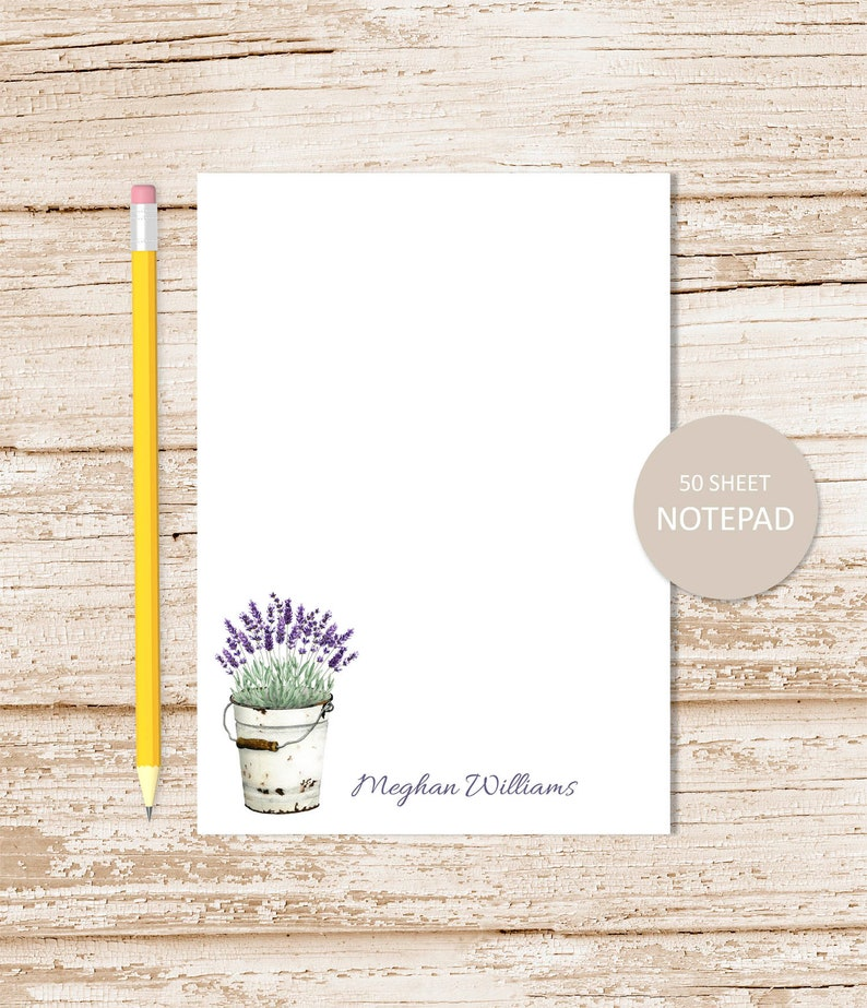 personalized notepad LAVENDER . vintage metal tin bucket note image 0