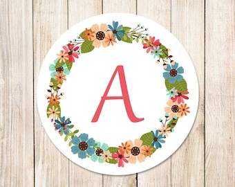 floral initial stickers . tags . monogram . floral wreath . envelope seals . set of 12