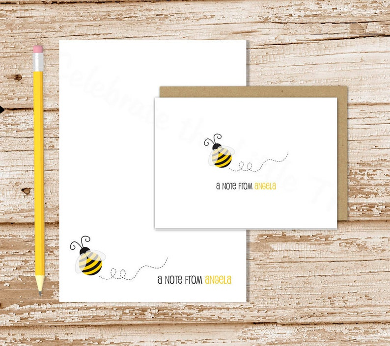 personalized bee stationery set . bumble bee notepad  note image 0