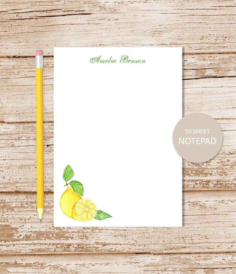 personalized note pad . LEMON . watercolor lemons  . image 0