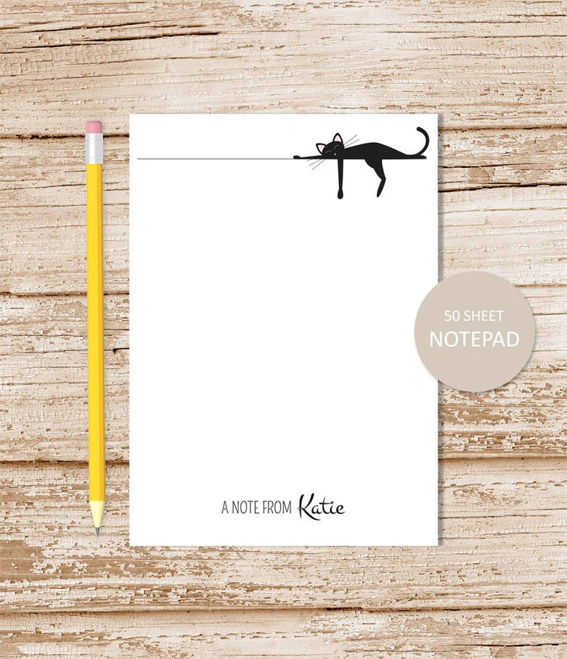 personalized notepad . SLEEPING BLACK CAT . notepad . cat note image 0