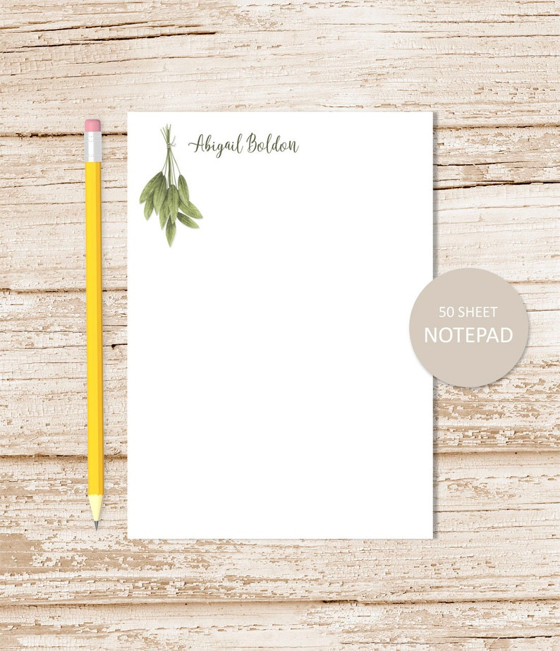 personalized notepad . HERBS . watercolor herb sprig note pad image 0