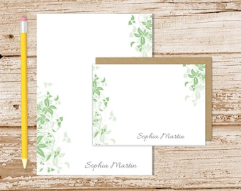 personalized vines stationery set . leafy edge notepad + note card set . ivy leaves leaf notecards note pad . stationary gift set