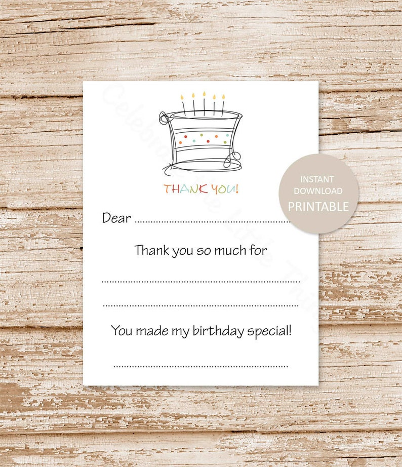 PRINTABLE . birthday cake thank you cards . candles . kids image 0