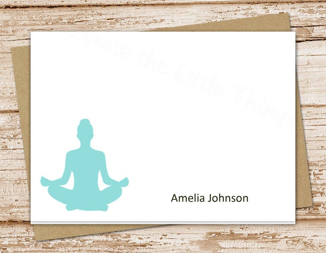 personalized yoga note cards . notecards . yoga meditation . folded cards . personalized stationery stationary . set of 10